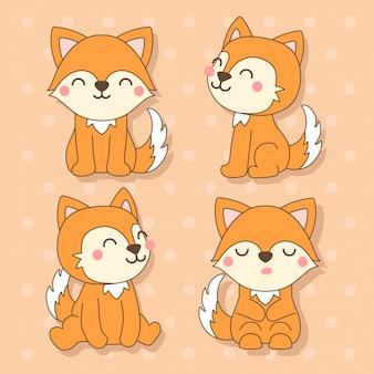 Fox - set di simpatici animali kawaii charactor illustrazione