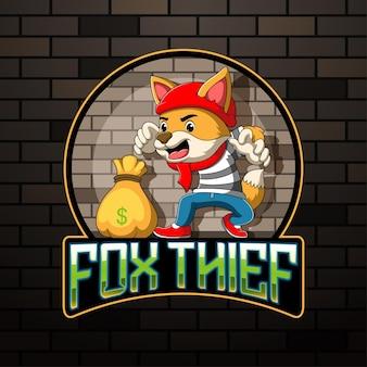 Illustrazione della mascotte del ladro di volpe