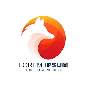 Logo moderno del cerchio del lupo della volpe