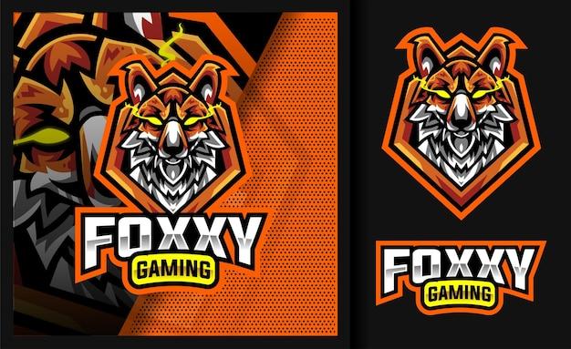 Foxxy red fox mascotte da gioco logo