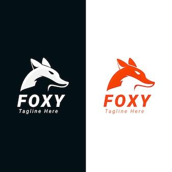 Foxy logo design con colore diverso. utilizzabile per aziende, comunità, fondazioni, tecnologia, società di servizi. illustrazione di design del logo vettoriale