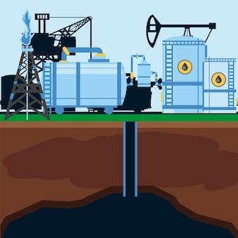 Serbatoio di stoccaggio dell'impianto di raffineria di fracking, illustrazione della pompa della stazione industriale