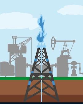 Illustrazione di esplorazione dell'industria del gas a torre e della piattaforma petrolifera di fracking
