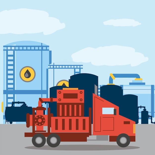 Illustrazione di industria di esplorazione dei serbatoi di stoccaggio del camion di fracking