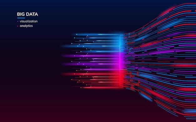 Elementi frattali con linee per la visualizzazione dell'analisi dei big data