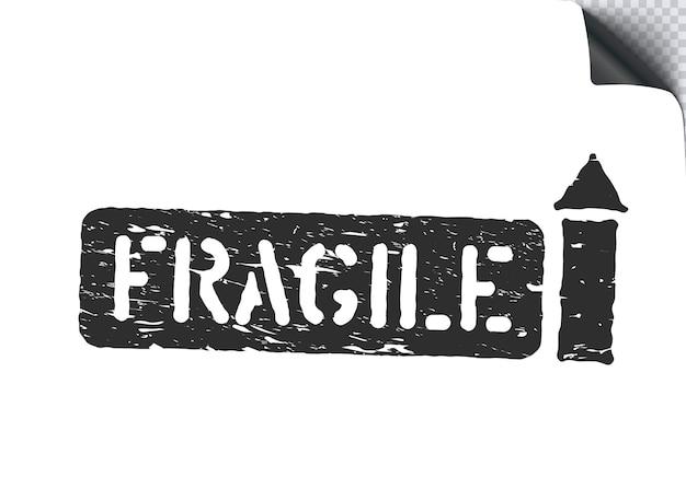 Fragile, freccia verso l'alto segno scatola grunge per carico, consegna e logistica isolato su sfondo bianco