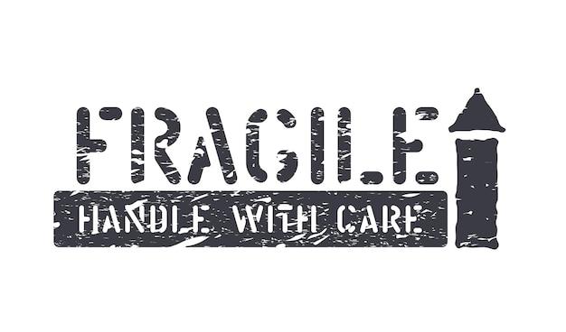 Fragile, freccia in su, maneggiare con cura scatola di gomma grunge isolata segno per carico, consegna e logistica
