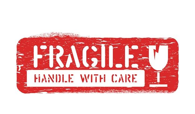 Fragile, maneggiare con cura scatola di gomma inchiostro segno per carico, consegna e logistica isolato su sfondo bianco
