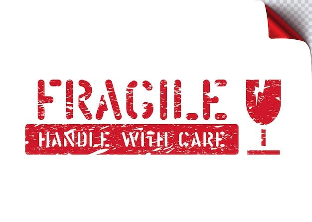 Fragile, maneggiare con cura scatola di gomma grunge isolata segno per carico, consegna e logistica
