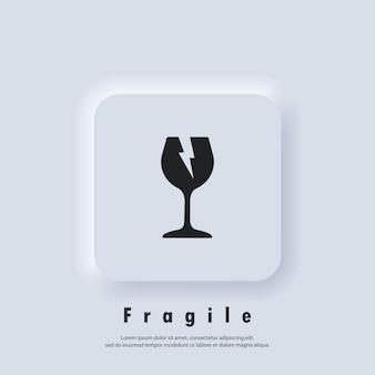Icona fragile. segnale di pericolo di simbolo di vetro. simbolo di imballaggio. vettore eps 10. icona dell'interfaccia utente. pulsante web dell'interfaccia utente bianco neumorphic ui ux. neumorfismo