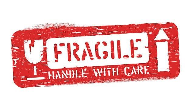 Fragile, in questo modo isolato sigillo grunge per carico, consegna e logistica. maneggiare con cura illustrazione vettoriale.