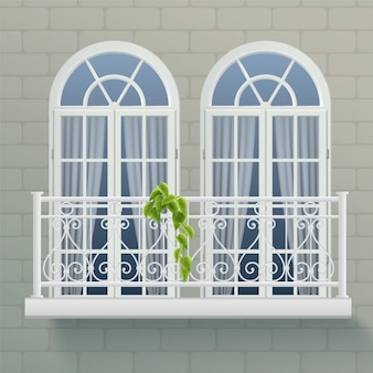 Frammento di muro di casa con due finestre unite da balcone comune con recinzione ornamentale forgiata realistica