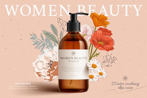 Modello di prodotto detergente profumato su sfondo floreale elegante disegnato a mano, illustrazione 3d