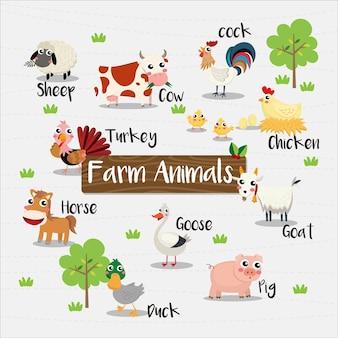 Animali di fram cartoon con nome animale