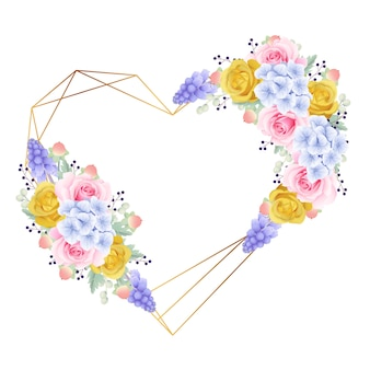 Cornice di sfondo floreale con rose e ortensie