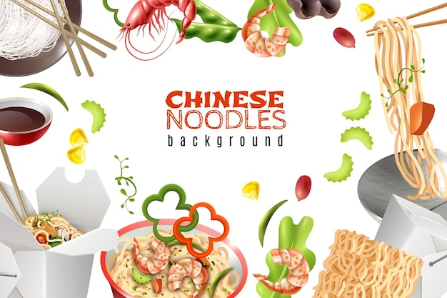Sfondo cornice con piatti di spaghetti cinesi