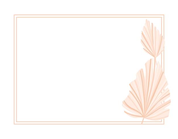 Sfondo cornice con foglie di palma secche. arredamento. illustrazione vettoriale.