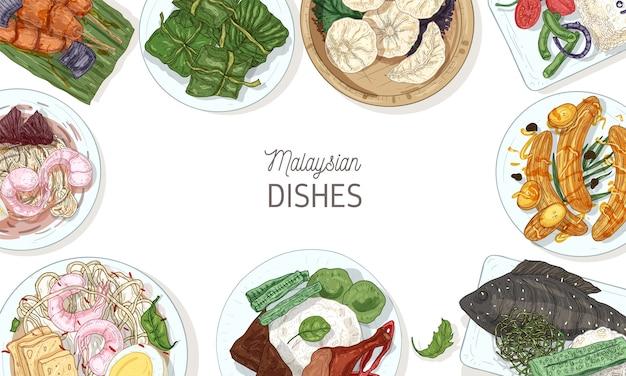 Sfondo cornice con gustosi pasti della cucina malese o cornice fatta di deliziosi piatti piccanti del ristorante asiatico che giace sui piatti, vista dall'alto