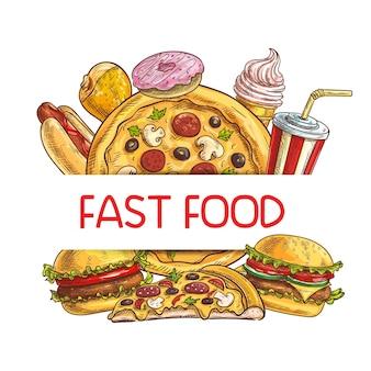 Cornice hamburger, coscia di pollo e hot dog, bibita gassata, cono gelato e pizza