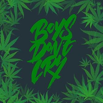 Cornice di cespugli di foglie di marijuana, con scritte. illustrazione vettoriale