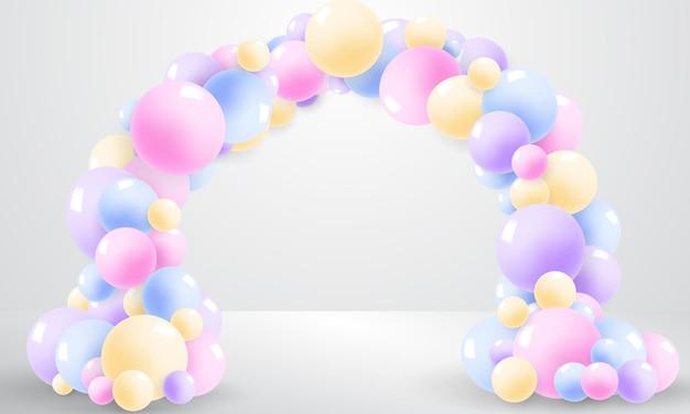 Palloncini di colore del telaio, concept design modello vacanza happy day, sfondo celebrazione illustrazione vettoriale.
