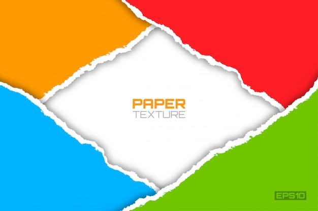 Pagina delle carte lacerate luminose variopinte, illustrazione materiale di progettazione