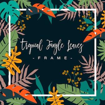 Cornice di foglie colorate giungla tropicale su sfondo scuro.