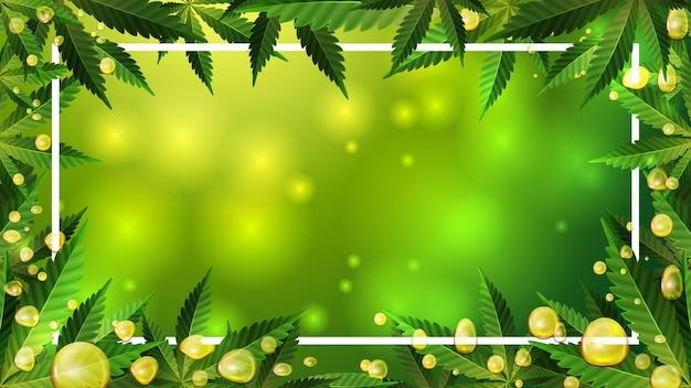 Cornice decorata con foglie di cannabis su sfondo sfocato verde con bolle d'oro di olio di cbd