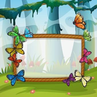 Disegno di cornice con farfalle in giardino