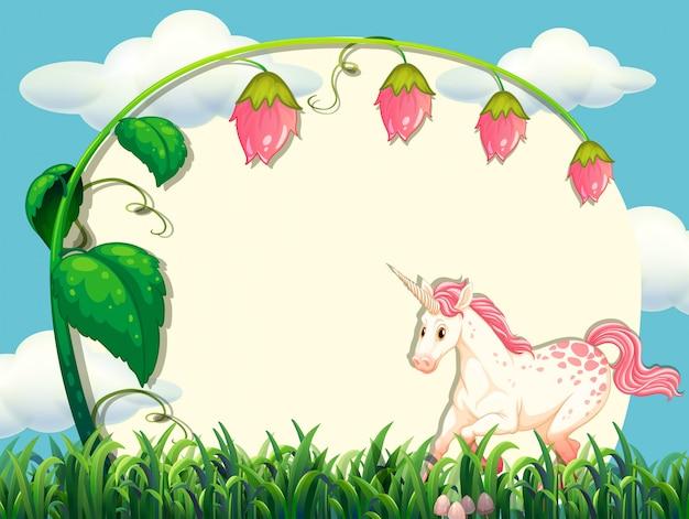 Design del telaio con fiori e unicorno