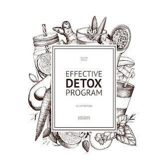 Design del telaio con illustrazione di disintossicazione disegnata a mano. sfondo di schizzo di alimenti biologici. ingredienti dietetici efficaci. modello vintage