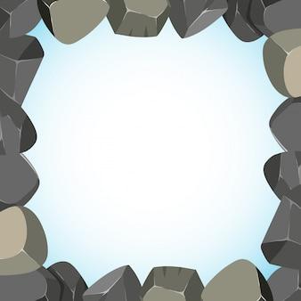 Disegno di struttura con rocce e cielo