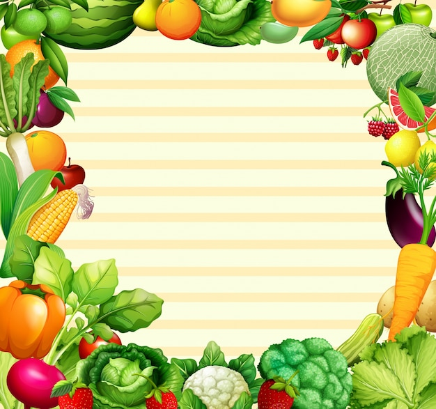 Disegno di cornice con illustrazione di verdure e frutta