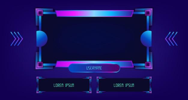 Incornicia il modello di gioco di gioco in streaming live di facecam con il pannello di visualizzazione alla moda del telaio tecnologico bagliore