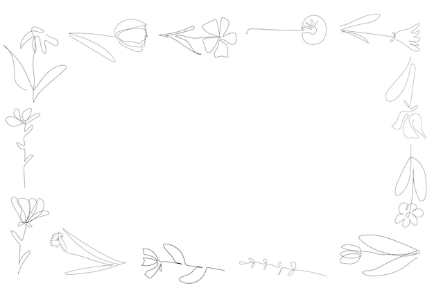 Cornice di fiori sullo sfondo bianco una linea continua contorno nero arte floreale vettore