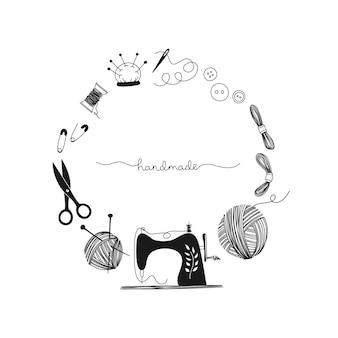 Cornice disegnata a mano concetto cucito, macchina da cucire, vintage, sarta, fatto a mano. illustrazione in bianco e nero.