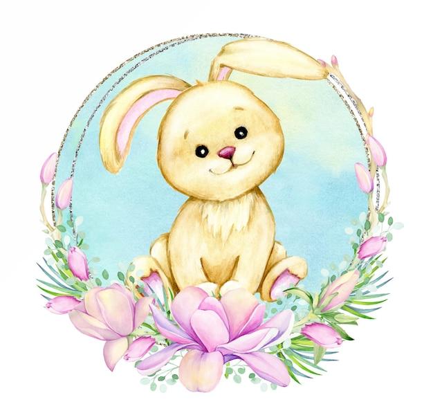 La cornice è oro e argento a forma di cuore. decorato con fiori di magnolia ad acquerello.
