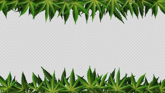 Cornice fatta di foglie di cannabis