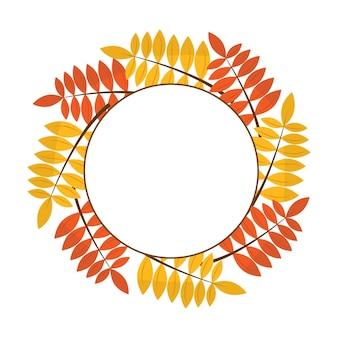Cornice fatta di foglie autunnali cornice autunnale stile piatto cornice rotonda fatta di rami d'albero