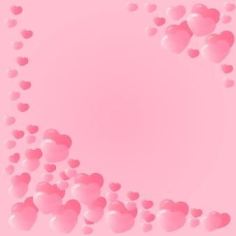 Cornice fatta di cuori rosa. decorazioni festive per san valentino.