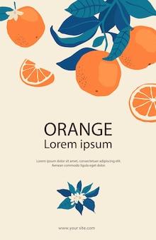 Cornice di arance sui rami con copia spazio in stile piatto. modello con agrumi per il tuo design di brochure, banner, etichette. illustrazione di riserva di vettore