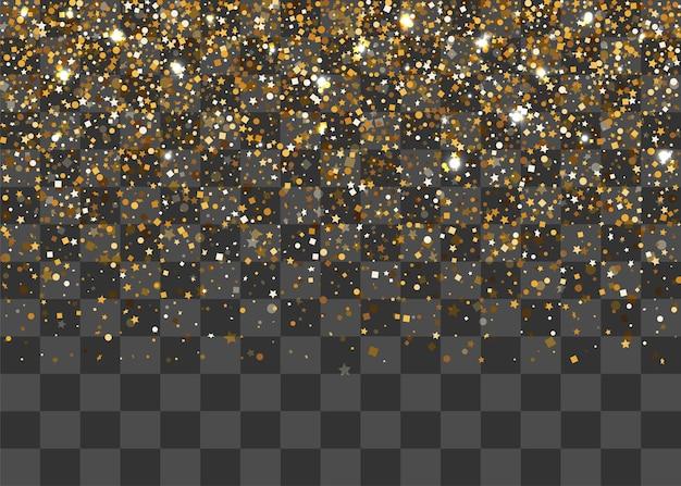 Cornice di coriandoli dorati di polvere scintillante che cadono casualmente sfondo decorativo festivo per le vacanze