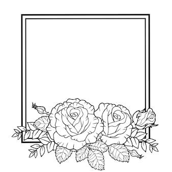 Cornice di rami e foglie di fiori di rosa
