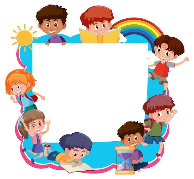 Modello di cornice con personaggio dei cartoni animati dei bambini delle scuole