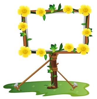 Modello di cornice con fiori di ranuncolo giallo
