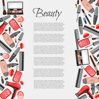 Cornice per il testo con una serie di articoli di bellezza. stile cartone animato. illustrazione vettoriale.