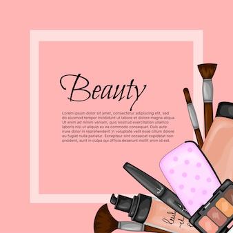 Cornice per testo con una serie di articoli di bellezza. stile cartone animato. illustrazione vettoriale.