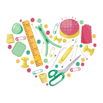 Cornice sul tema del cucito a forma di cuore su sfondo bianco. illustrazione vettoriale luminosa dei simboli dell'industria dell'abbigliamento. articoli e accessori per il fatto a mano.