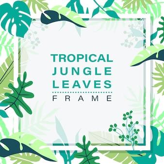 Cornice di giungla tropicale foglie su sfondo bianco.