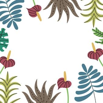 Incornicia i lati delle piante della giungla tropicale motivo con foglie esotiche
